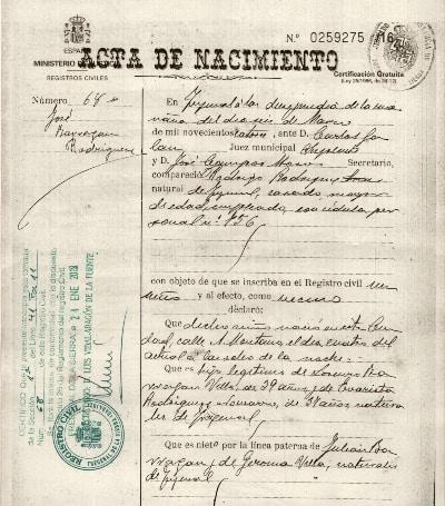 Traducción de certificado de nacimiento